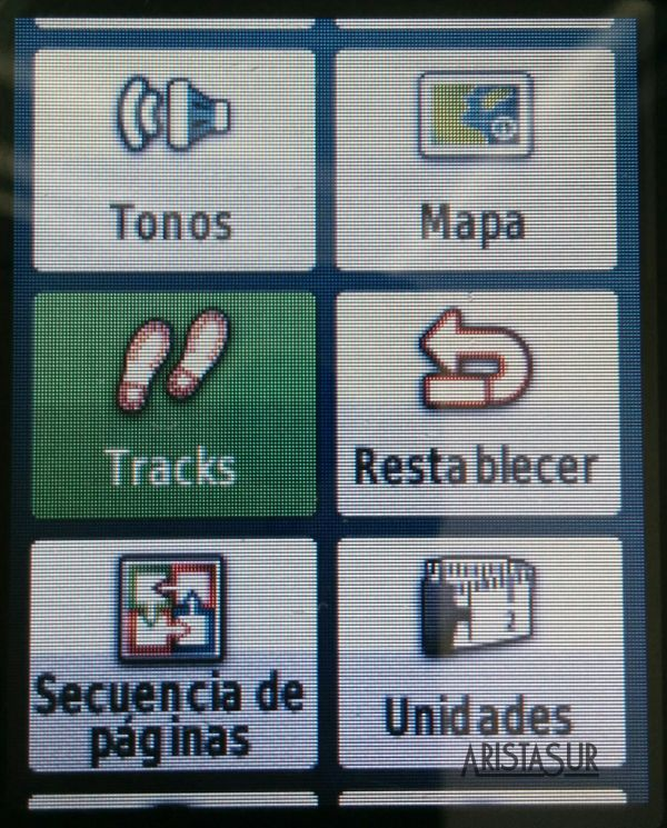 Garmin eTrex 30 configuración tracks